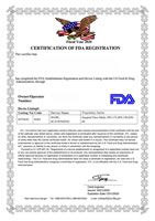 Certification of FDA Registration for Surgical Face Mask MN-175 MN-130 MN-80
