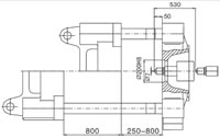 Plastics Injection Machine, Platen Dimensions, SE500-3500 Side