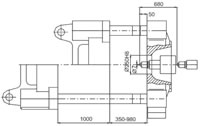 Plastics Injection Machine, Platen Dimensions, SE780-6460 Side