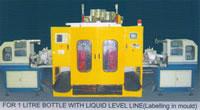 Automatic Plastics Extrusion Blow Molding (EBM) Machine, For 1L Bottle, Transparent Liquid Level Line, In Mould Label, IML
